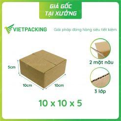 10x10x5 hộp carton nhỏ 2 mặt nâu