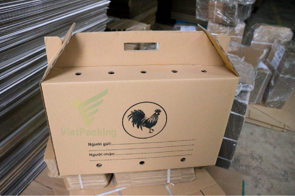thung carton dung ga 60 24 38 03 Thùng carton đựng gà 60x24x38cm