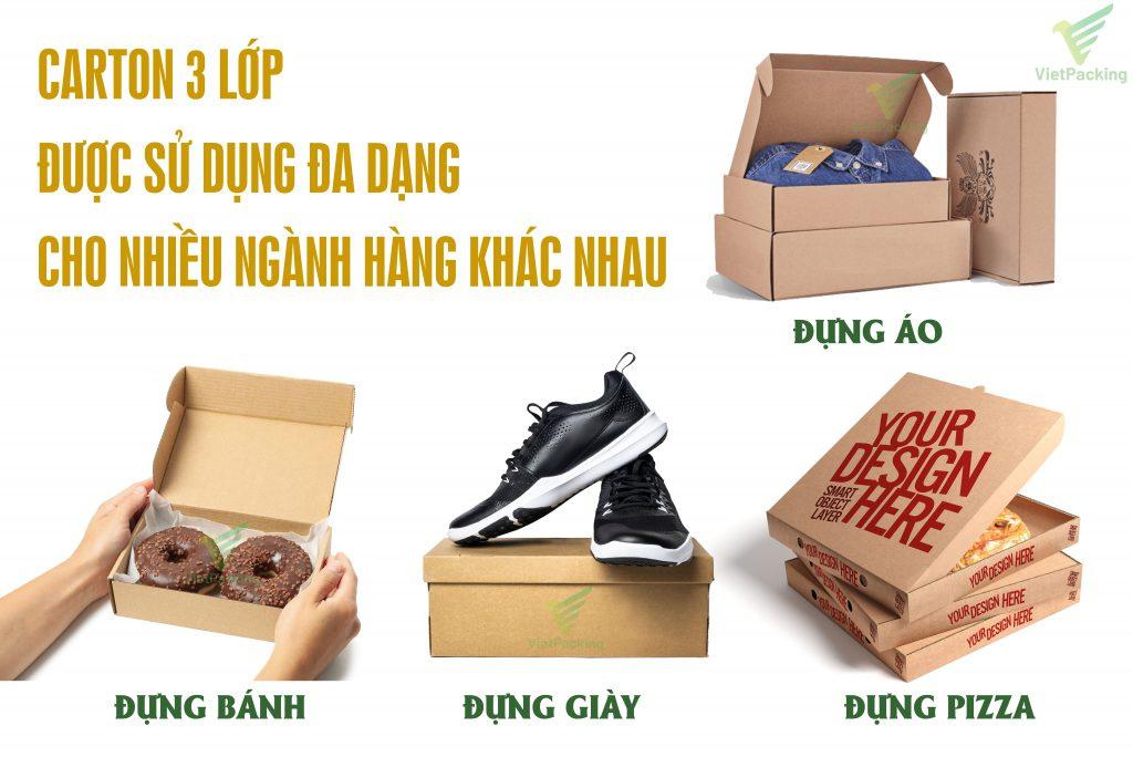 carton 3 lớp sử dụng đựng giày, đựng áo, đưnng bánh, đựng pizza