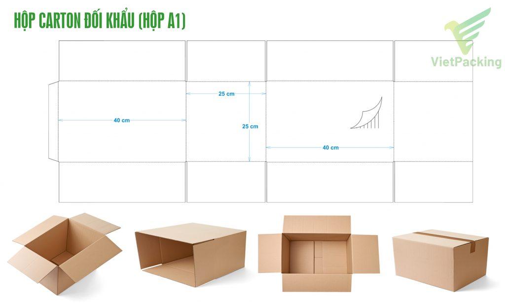 Bản vẽ thiết kế và kiểu dáng Thùng carton nắp đối khẩu (Thùng A1)