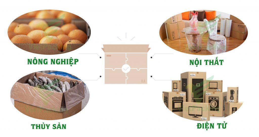 thùng carton 5 lớp ứng dụng cho vận chuyển nông nghiệp, thủy sản, nội thất, điện tử