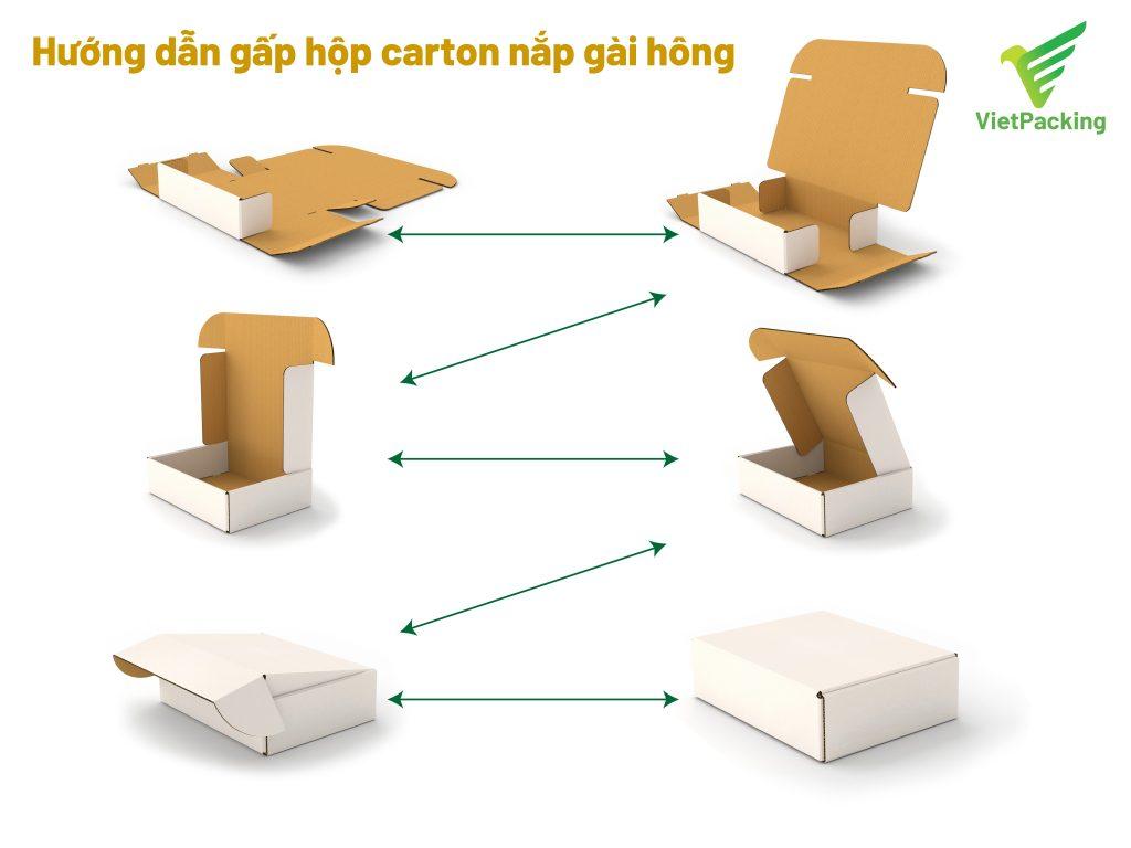 Quy trình gấp hộp carton nắp gài hông