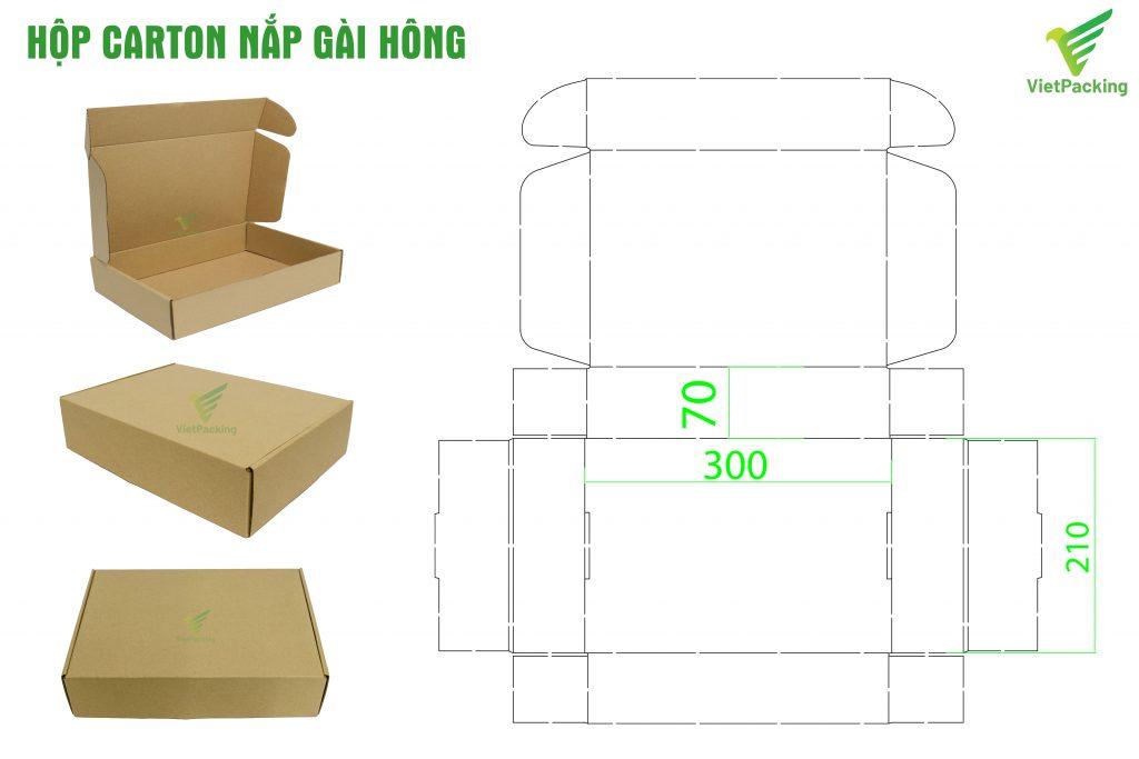 Bản thiết kế hộp carton nắp gài hông tiêu chuẩn