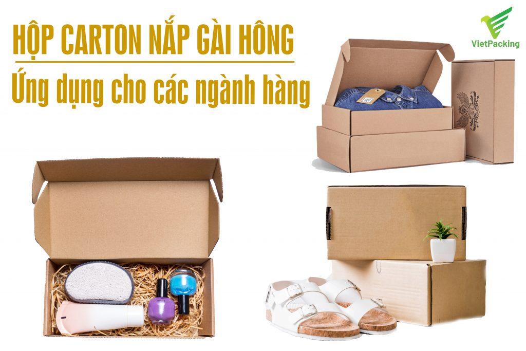 Hộp carton nắp gài hông được sử dụng cho các loại ngành hàng khác nhau đặc biệt là thời trang