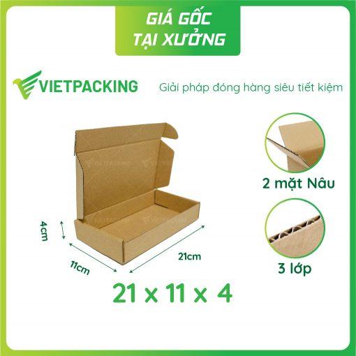 21x11x4 hộp carton nắp gài