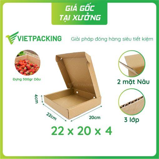22x20x4 hộp carton nắp gài hông