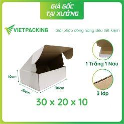 30x20x10 hộp carton nắp gài trắng