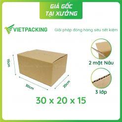 30x20x15 hộp carton 2 mặt nâu