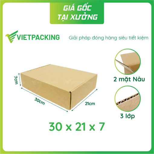 30x21x7 hộp carton nắp gài