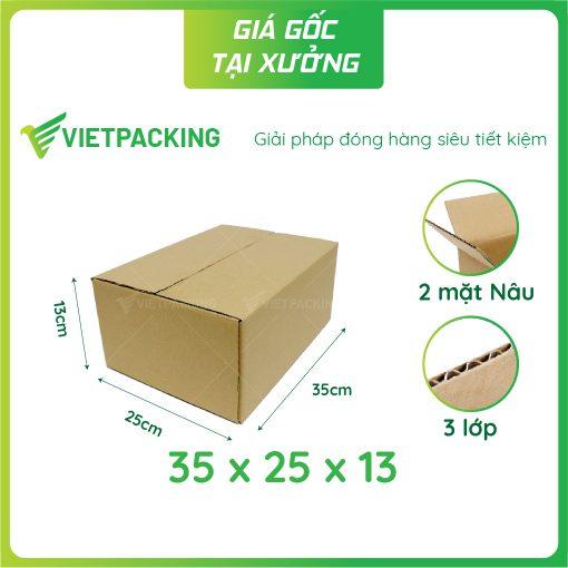 35x25x13 hộp carton 2 mặt nâu