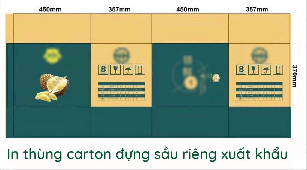in thùng carton đựng sầu riêng xuất khẩu