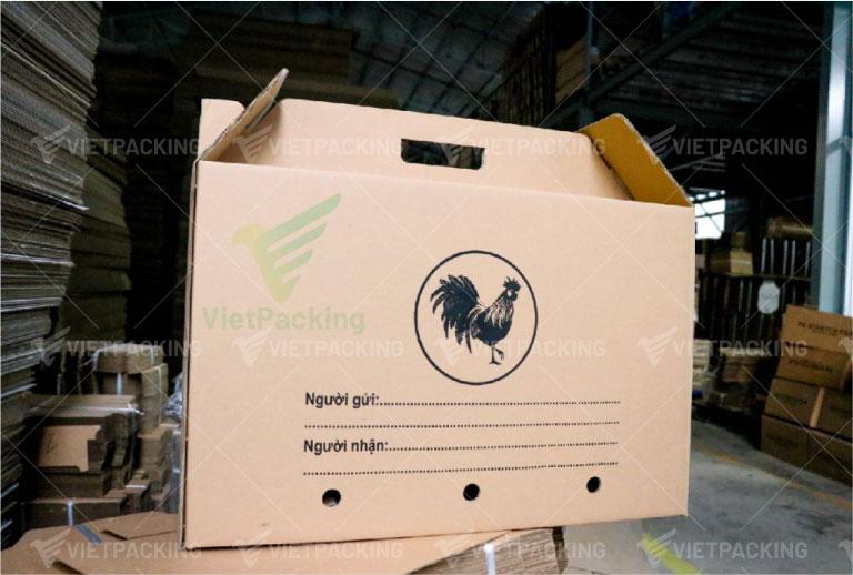 thùng carton có quai xách đựng gà